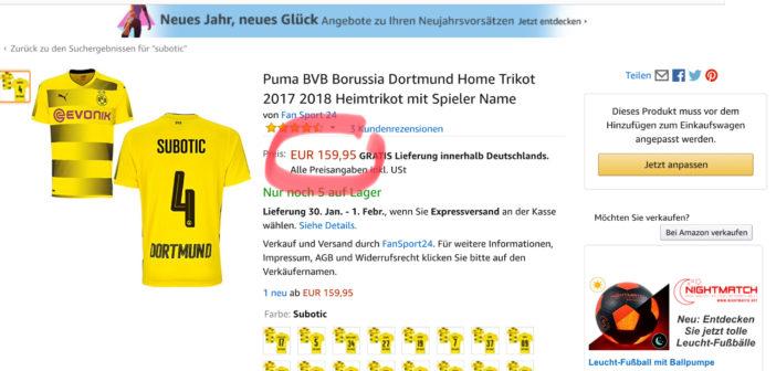 Beim Online-Kaufhaus Amazon sind Trikots von Neven Subotic für 159,95 Euro zu haben.